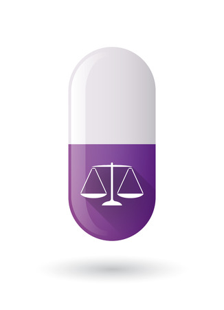 pain scale: Illustration of a purple pill icon with a weight scale Illustration