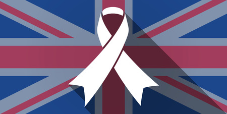 Illustration of an UK flag icon with an awareness ribbon Vector
