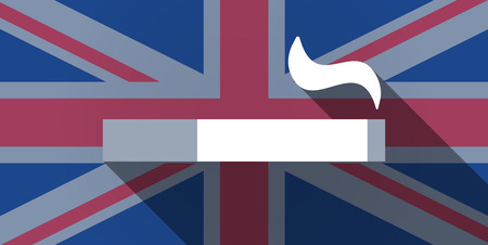 cigar shape: Illustration of an UK flag icon with a cigarette Illustration