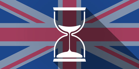 Illustration of an UK flag icon with a sand clock Vector