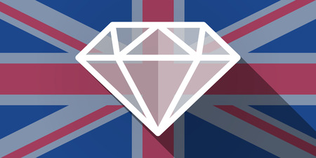 Illustration of an UK flag icon with a diamond Vector