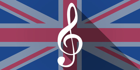 g clef: Illustration of an UK flag icon with a g clef Illustration