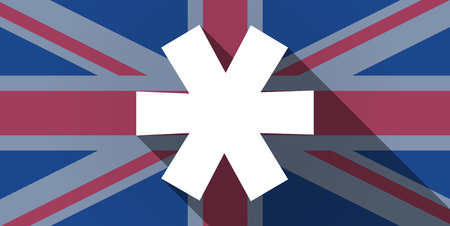 Illustration of an UK flag icon with an asterisk Vector