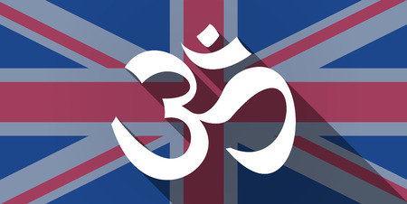 zen aum: Illustration of an UK flag icon with an om sign