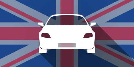 Illustration of an UK flag icon with a car Vector
