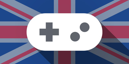 Illustration of an UK flag icon with a game pad Vector