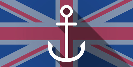 nautic: Illustration of an UK flag icon with an anchor