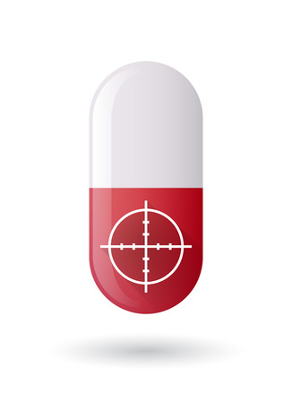 red pill: Illustration of a red pill icon with a crosshair