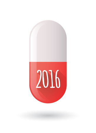 red pill: Illustration of a red pill icon with a 2016 sign