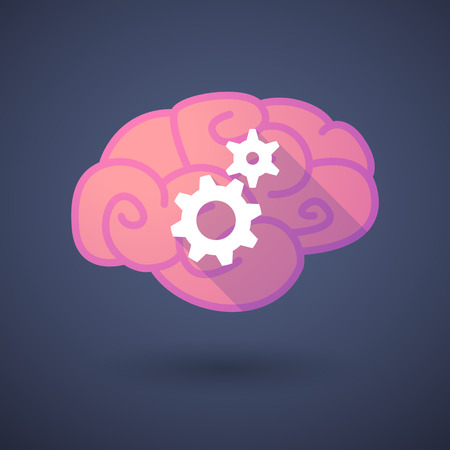 Illustration of a pink brain with gears Vector