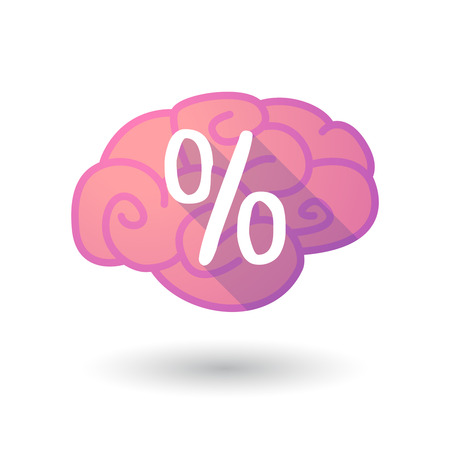 percentage sign: Illustration of a pink brain with a percentage sign