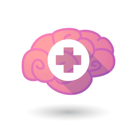 pharmacy sign: Illustration of a pink brain with a pharmacy sign Illustration