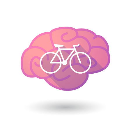 Illustration of a pink brain with a bicycle Vector