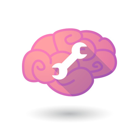 monkey wrench: Illustration of a pink brain with a wrench Illustration