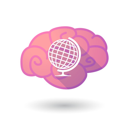 Illustration of a pink brain with a world globe Vector