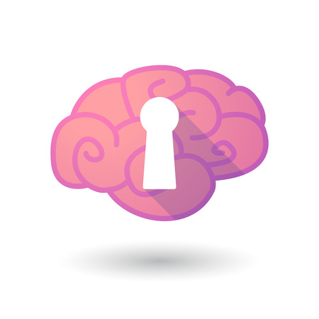key hole: Illustration of a pink brain with a key hole