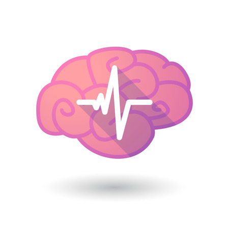 beat: Illustration of a pink brain with a heart beat sign