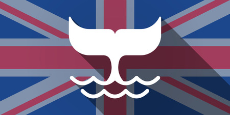 Illustration of an UK flag icon with a whale tail Vector