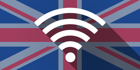 Illustration of an UK flag icon with a radio sign Vector