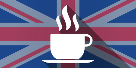 long drink: Illustration of an UK flag icon with a coffee cup