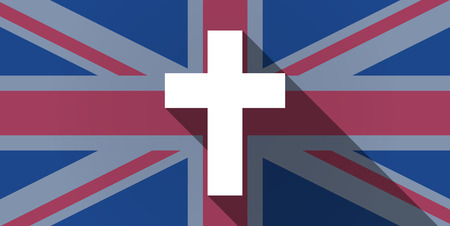 kingdom of god: Illustration of an UK flag icon with a cross Illustration
