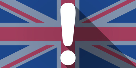 Illustration of an UK flag icon with an exclamation sign Vector