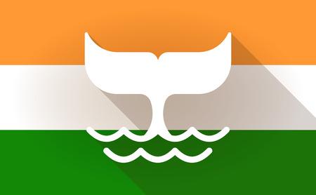 the tail: Ilustraci�n de un icono de la bandera de la India con una cola de ballena