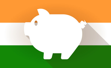 rural india: Illustration of an India flag icon with a pig