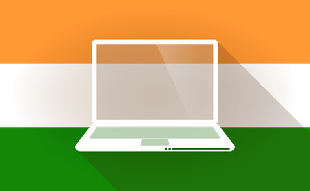 lap top: Illustration of an India flag icon with a lap top