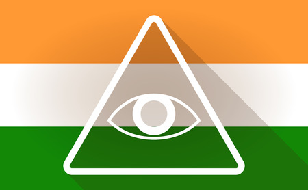 all seeing: Illustration of an India flag icon with an all seeing eye Illustration