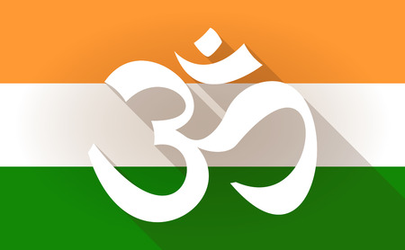 Illustration of an India flag icon with an om sign Vector