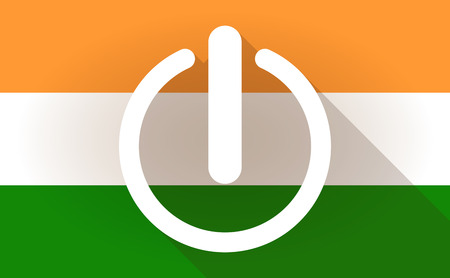 on off button: Illustration of an India flag icon with an off button