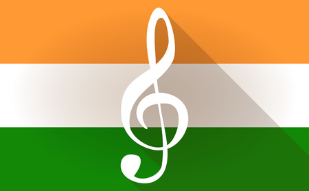 g clef: Illustration of an India flag icon with a g clef