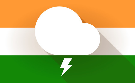 stormy: Illustration of an India flag icon with a stormy cloud