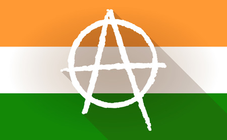social movement: Illustration of an India flag icon with an anarchy sign Illustration