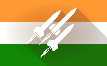 missiles: Illustration of an India flag icon with missiles