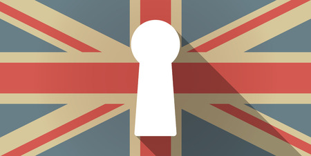 key hole: Illustration of a UK flag icon with a key hole Illustration