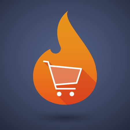 energy market: Illustration of a flame icon with a shopping cart Illustration