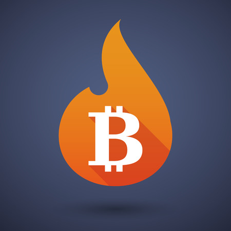 p2p: Illustration of a flame icon with a bitcoin sign Illustration