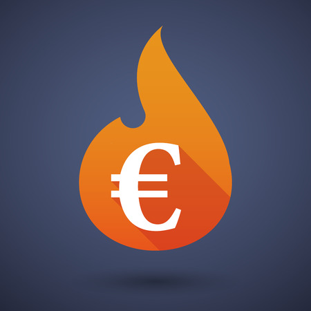 inferno: Illustration of a flame icon with an euro sign Illustration