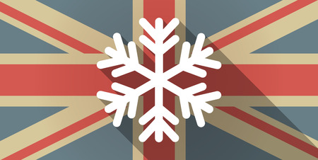 snow flake: Illustration of a UK flag icon with a snow flake Illustration