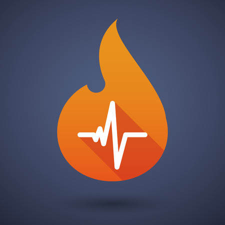 heart beat: Illustration of a flame icon with a heart beat sign Illustration