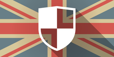 Illustration of a UK flag icon with a shield Vector