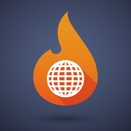 inferno: Illustration of a flame icon with a world globe Illustration