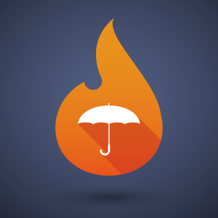 open flame: Illustration of a flame icon with an umbrella