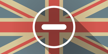 subtraction: Illustration of a UK flag icon with a subtraction sign