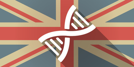 transgenic: Illustration of a UK flag icon with a DNA sign