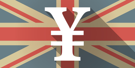 yen sign: Illustration of a UK flag icon with a yen sign