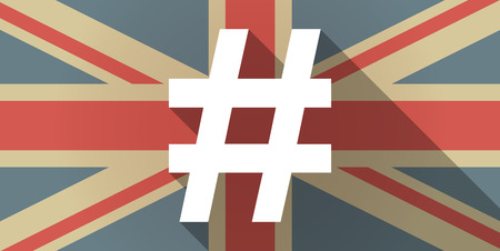 hash: Illustration of a UK flag icon with a hash tag Illustration