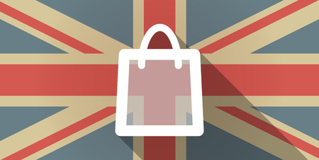 country store: Illustration of a UK flag icon with a shopping bag